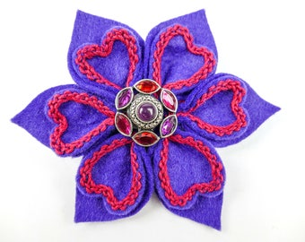 Embroidered Felt, Flower Brooch, Purple and Pink, Flower Pin, Felt Flower, Felt Flower Brooch, Felt Brooch, Wedding Flower, Gifts for Her
