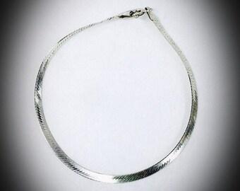 vintage Herringbone sterling silver bracelet marked Italy 925