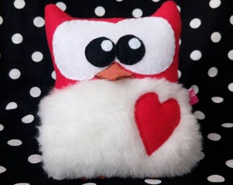 Plush red and white OWL soft APLUCHES