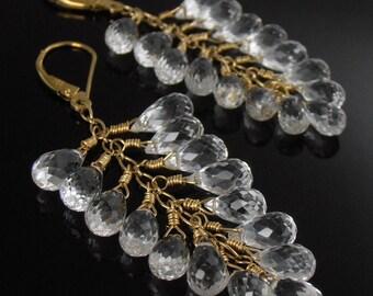 SALE - White Topaz and 18k Gold Earrings, White Topaz Earrings, Briolette Earrings, Wedding Earrings, Bridal Earrings
