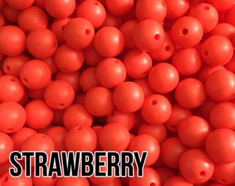 15 mm Strawberry Silicone Beads 5-1,000 (aka Red 2, Coral) - Bulk Silicone Beads Wholesale - DIY Teething
