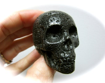 Black Lava Stone Carved Crystal Skull 51mm 78g
