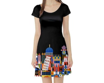 Adult It's A Small World Inspired Short Sleeve Skater Dress