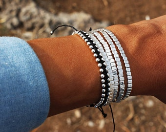 Delicate beaded bracelet / Sterling silver bracelet / Minimalism / Dainty Bracelet / Skinny Bar Bracelet / Woman's bracelet / Bar Bracelet
