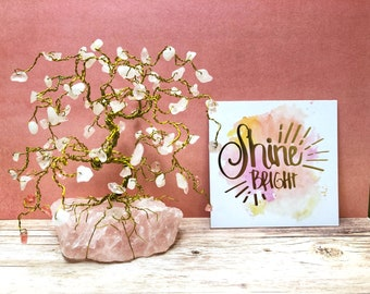 Rose Quartz Gem Tree, Wire Bonsai Trees, Gold Tree of Life, Mother Gifts, Gifts for Mom, Anniversary Gifts