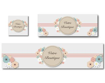 Banners, facebook and shop banner Bohemian romantic, shabby chic banner design