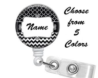 Moroccan Chevron Badge Reel Personalized Name (5 Choices), ID Badge Holder, Medical Badge Reel, Nurse, Belt or Alligator clip