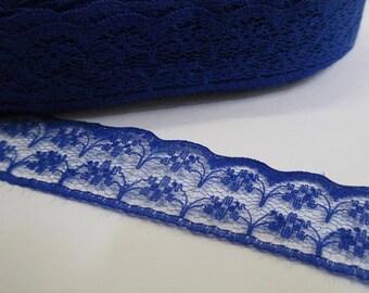 1 meter Ribbon lace dark blue thin 20mm