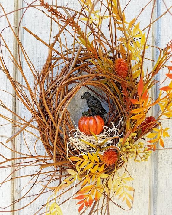 Black Flower And Crow Halloween Wreath: Crow Wreath Pumpkin Wreath Black Crow Halloween Wreath