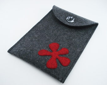 Kindle, Nook, Kobo or Galaxy Case with Red Flower - 100% Merino wool - Charcoal
