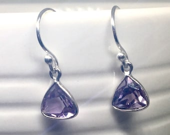 Sterling Silver Light Amethyst Earrings, Silver Teardrop Earrings, Gemstone Earrings, Birthstone Jewellery, February Birthstone, Uk shop