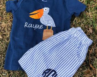 Raggedy pelican shirt and short set