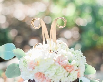 Acrylic Gold Vine Single Letter Initial Mirror Cake Topper - Other Colors Available