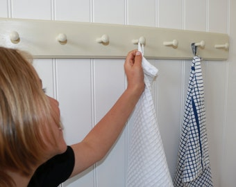 Shabby chic shaker peg rail, traditional wooden coat hook rail, hand made, hand painted vintage style