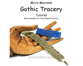 Micro Macrame Tutorial - Gothic Tracery Bracelet - Pattern - Beaded Macrame - Jewelry Making - DIY