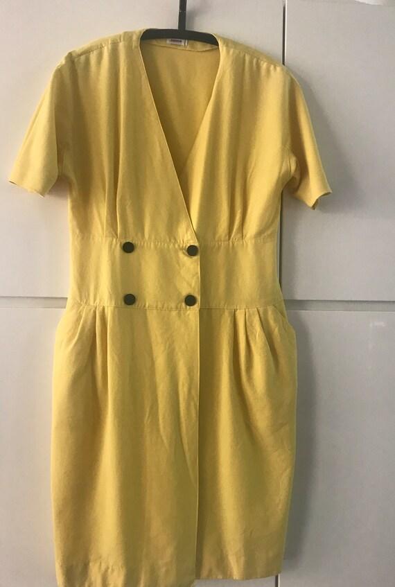 Vintage yellow dress | Rodier dress  | French dress | Vintage dress | Eighties dress | wool