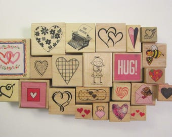 rubber stamp - YOUR CHOICE - Valentine, love, heart themed rubber stamp - some used