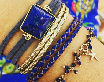 Deep Blue Ocean Treasures Bracelet Set 14k
