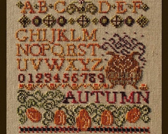 Mini Autumn Sampler! Counted Cross Stitch Instant Download X Stitch Pattern. Rustic Autumn Sampler Alphabet Letters Halloween Couldron