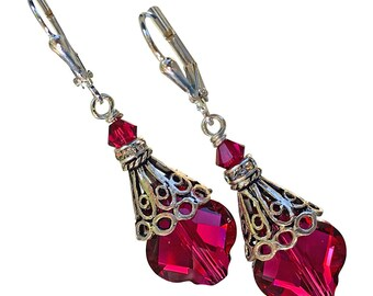 Ruby Red Vintage Inspired Earrings made with Crystals from Swarovski, Crystal Baroque Filigree Earrings