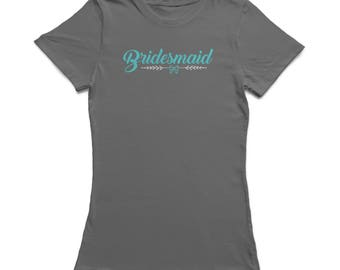 Bridesmaid Bow Graphic Women's Charcoal T-shirt