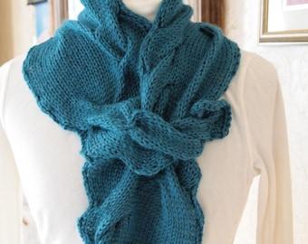 knitting pattern lace knit cowl scarf pdf knitting pattern cowl scarf neckwarmer - Serpent's Tail PDF Hand Knitting Pattern