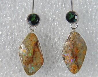 Louisiana Opal , Brazilian Tourmaline Sterling Silver bezel set dangle earrings
