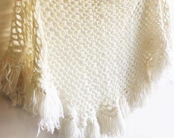 Crocheted White Fringe Shawl/Window Treatment