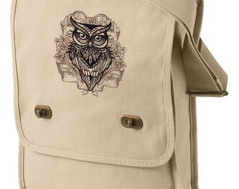 Owl You Need Embroidered Canvas Field Bag
