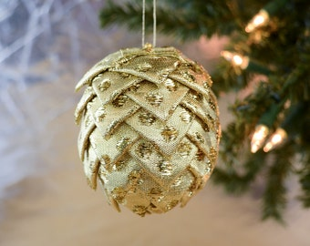 Gold Disco Polka Dot Christmas Ornament Modern Handmade Folded Ribbon Pine Cone Decoration for Holiday Tree Office Gift Exchange Idea