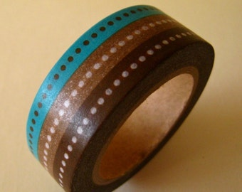 """SALE Washi Tape """"Tri Color Rows""""  This is one roll, not 3 separate rolls  15mm x 10 Meters"""