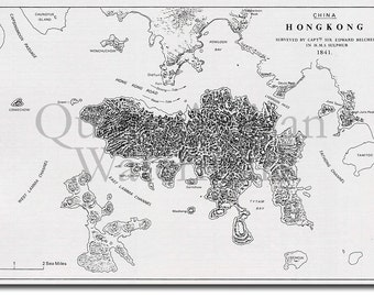 Reproduction of a Vintage Map of Hong Kong from 1841 - Fantastic Photo Poster Print - Old Archive Cartography