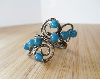 Blue Apatite Beads Wire Wrapped in Gunmetal Hematite Parwire Wire Wrapped Ring Size 7 1/2 Wire Wrapped Jewelry Handmade