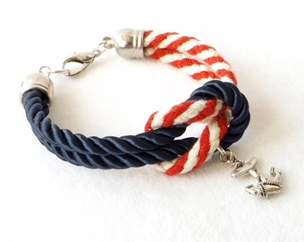 Red White Blue Bracelet, 4th of July Patriotic Stacking Cuff, Nautical Beach Rope Sailor Bracelet, Wife Mom Girl Friend Teen Daughter Gift
