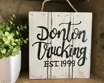 Customized Reclaimed Wooden Pallet Sign with Business Name and Established Date
