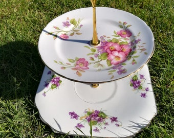 Three different pink/lilac cake stands, 2 tier, afternoon tea stand
