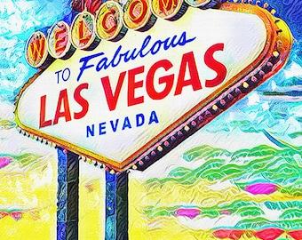 Las Vegas Sign Art Print, Viva Vegas art, LV Artwork