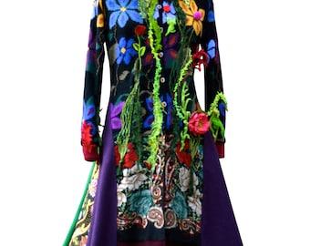 Réservée pour Gabby. Boho Floral pull manteau, vêtements fantaisie OOAK, remodelée patchwork eco couture, manteau de lutin des bois Festival