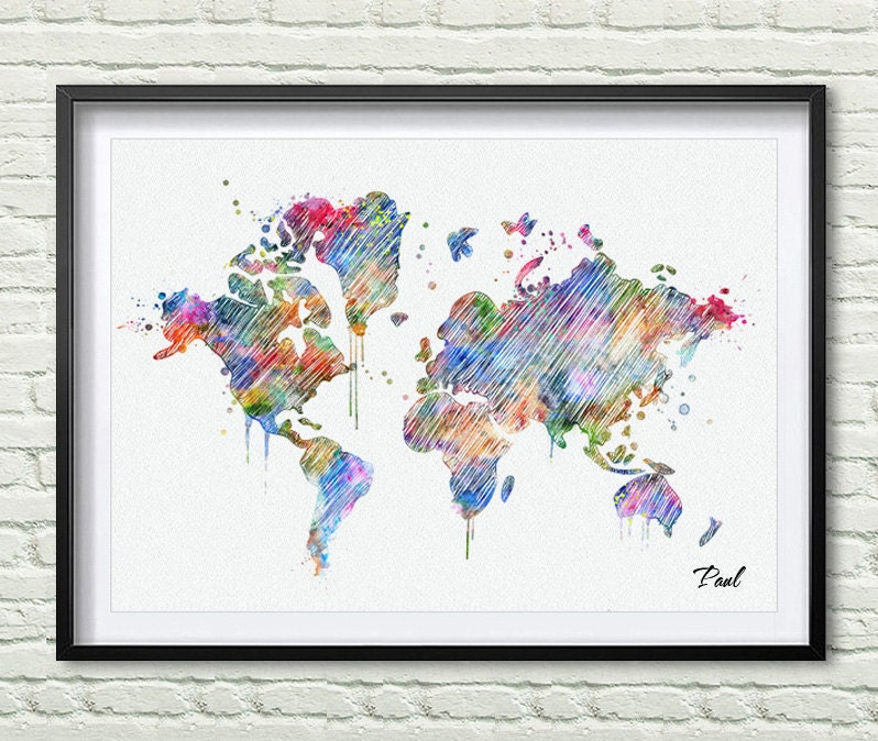 World map watercolor canvas map painting wall decal wall decor zoom gumiabroncs Choice Image