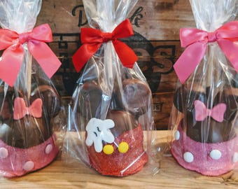 Mickey or Minnie Mouse Gourmet Caramel Apples 2 per order