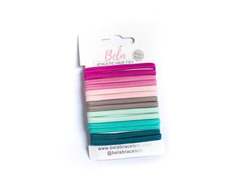 Athletic Hair Tie Set of 14 Hair Bands in Fuchsia - Pink - Rose - Gray - Mint - Aqua - Teal  - Non-Slip For Hair Tie Bracelets
