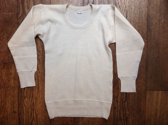 "Vintage Italian military thermal undershirt top fine knit 33"" chest"