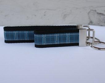 Plaid Key Fob/Keychain/Blue Plaid Key Fob