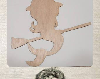 Cute Mermaid Witch / Laser Cut From Wood