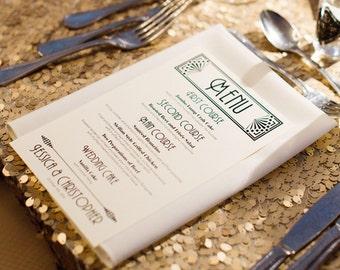 Art Deco Menu Cards Wedding Custom Handmade Bridal Sign Table Setting Gatsby Roaring Twenties Set 10