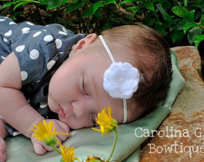 White Felt Flower Headband ~ Infant Headband - Newborn Headband - Toddler Headband ~ Baby Girl Headband