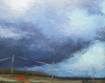 Storm Painting | Stormy Landscape Oil | Daily Painting |  Coastal Collision II by Carol Schiff | 11x14 Palette Knife Landscape