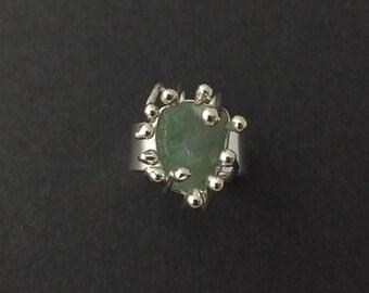 Sterling silver  aquamarine 'sea anemone' ring.