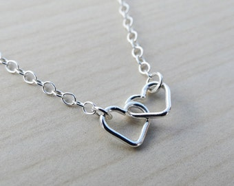 Tiny Silver Linked Hearts Necklace - Sterling Silver