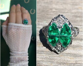 Art Deco Antique 14k white gold Filigree with emerald green synthetic gems